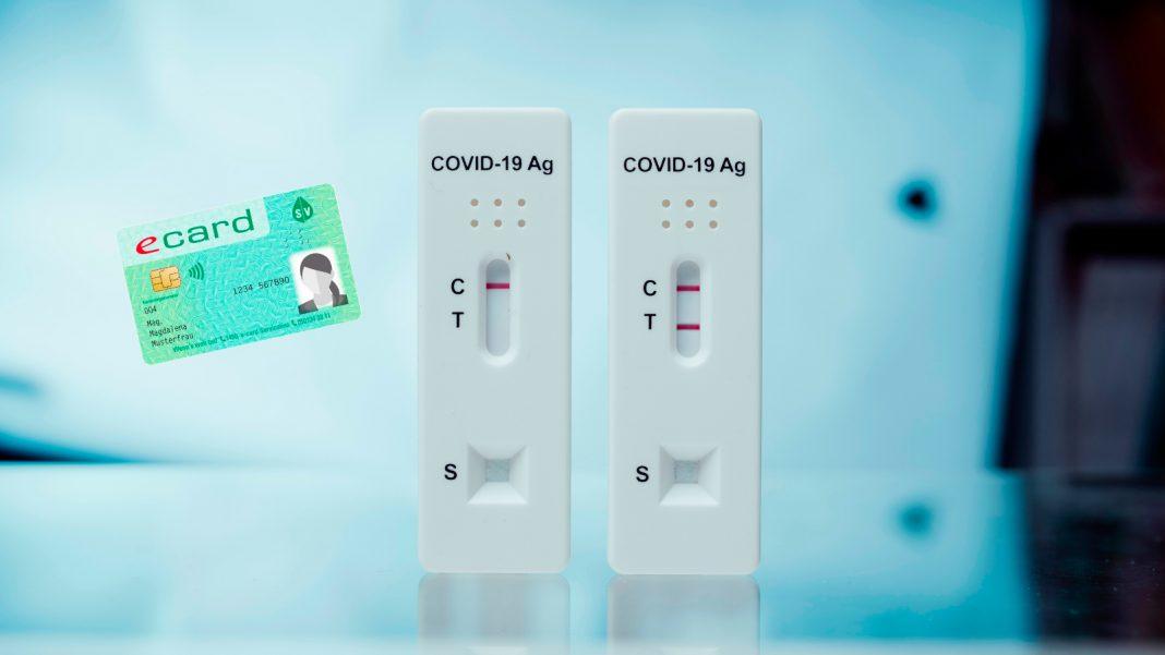 Illustration: Covid-19-Antigen-Schnelltest und E-Card, Credit: Canva