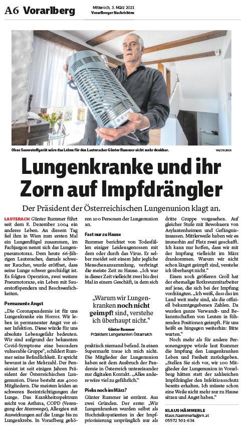 Der Präsident der Österreichischen Lungenunion, Günter Rummer, fragt sich im Interview mit den Vorarlberger Nachrichten vom 3. März 2021, weshalb Menschen mit Lungenerkrankungen noch nicht gegen COVID-19 geimpft sind.