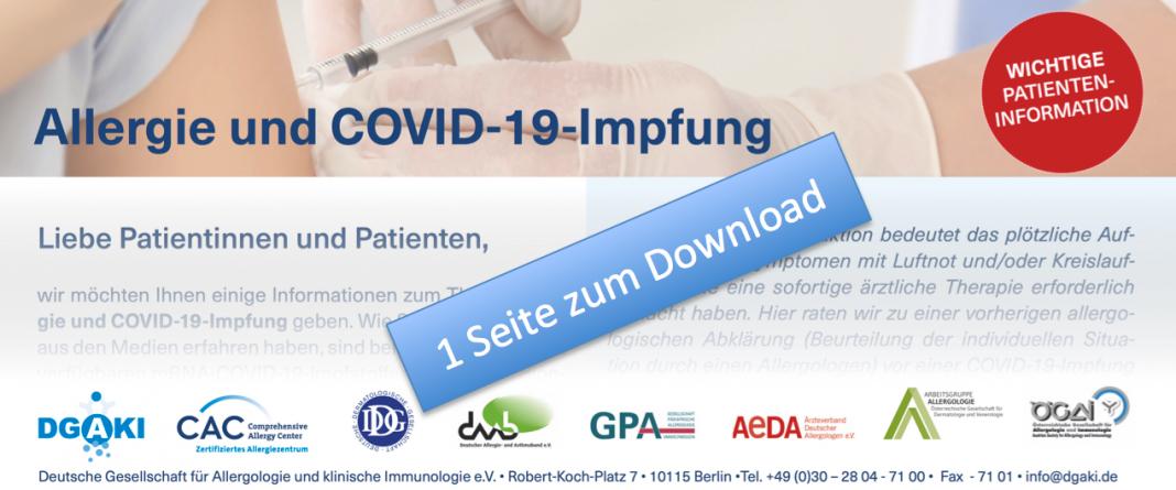 Patienteninformation zu Allergie und COVID-19-Impfung, Credit: DGAKI