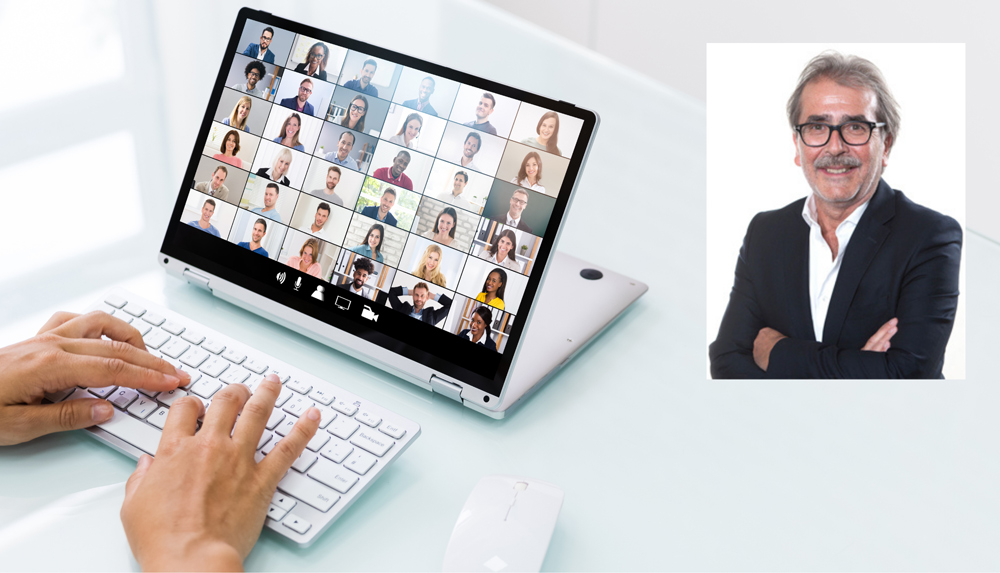 Portrait Univ. Prof. Dr. Wolfgang Pohl neben Laptop mit Online-Meeting, Credit: Canva