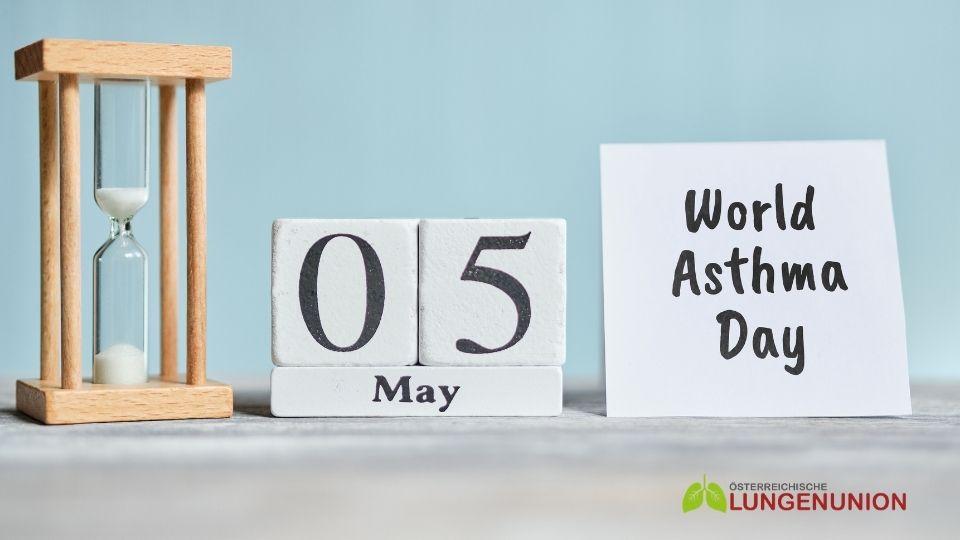 Sanduhr, Kalender 5. Mai, Schild: World Asthma Day, Credit: Canva